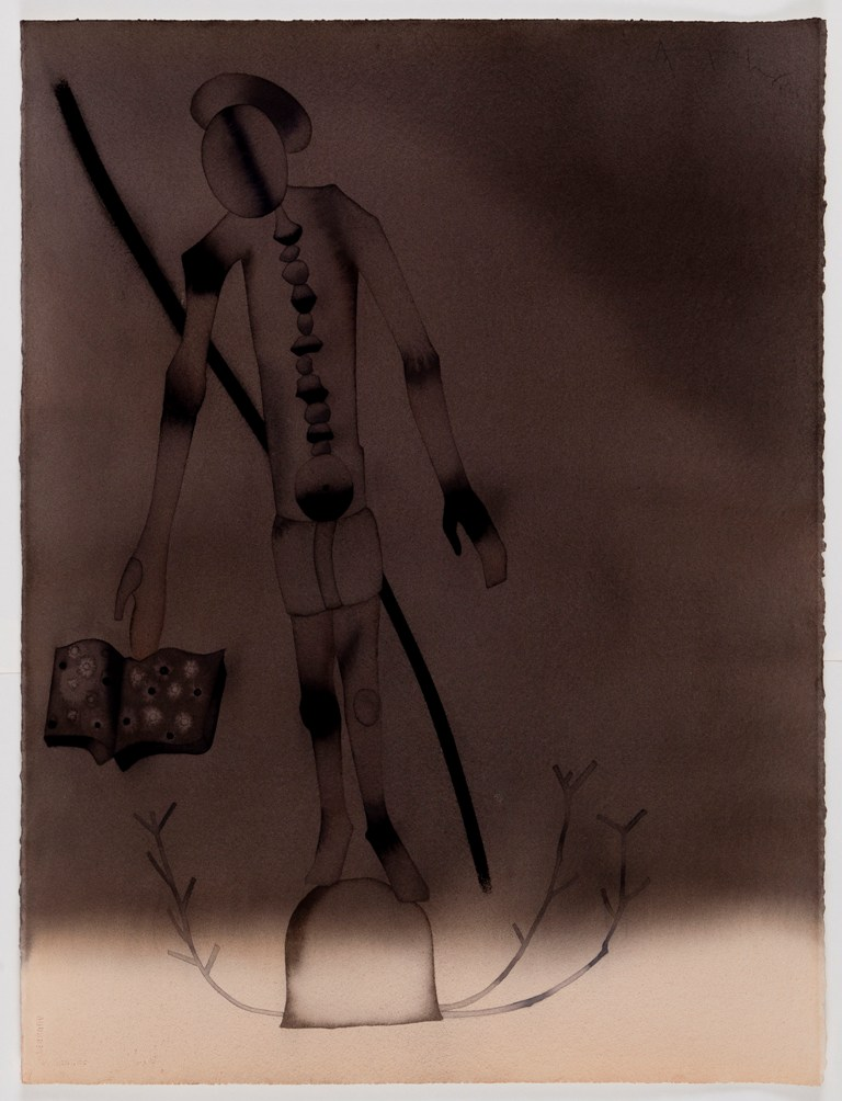 "Atul Dodiya  Blind Scribe  Watercolour on paper  30"" x 22""  2012"