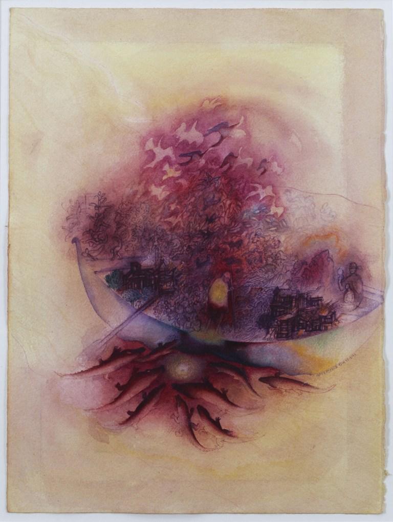 "Gulammohammed Sheikh  Ark - I  Watercolour on paper   15"" x 11""  2003"