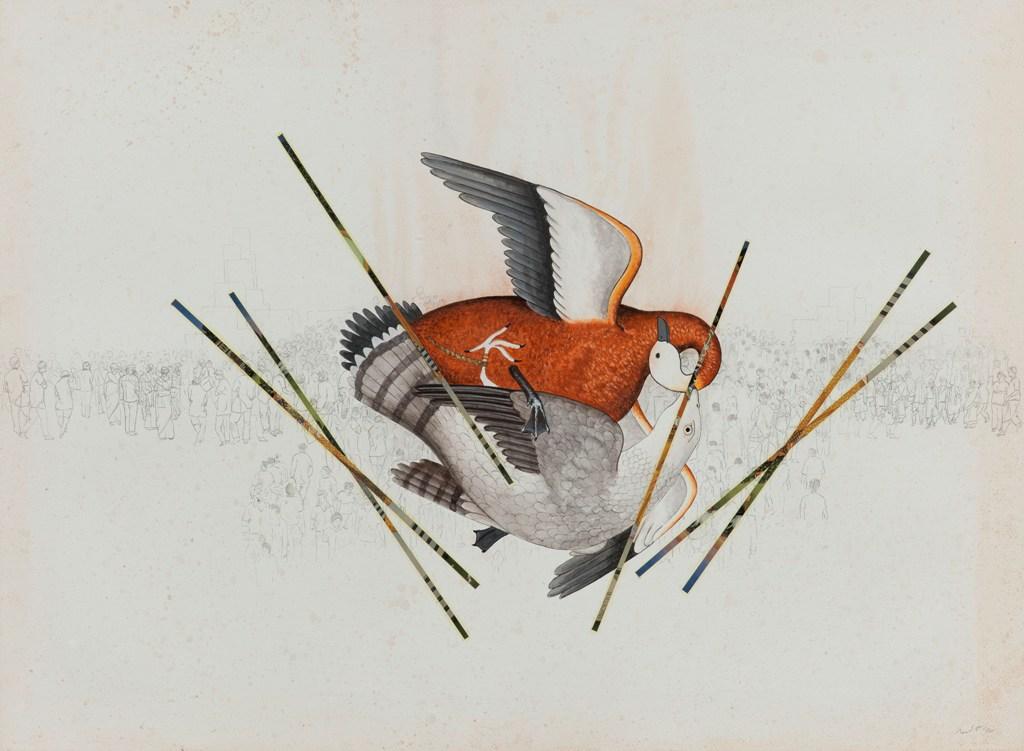 "Jagannath Panda  Untitled  W/C & collage on paper  22"" x 30""  2012"