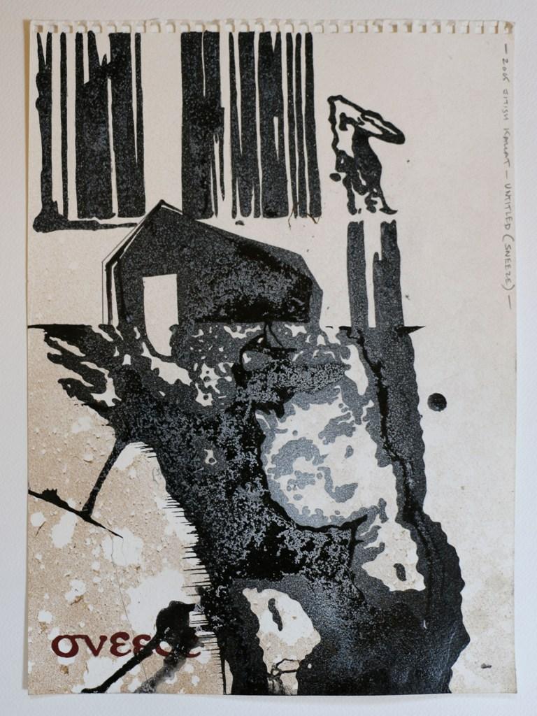 "Jitish Kallat  Untitled (Sneeze)  Mixed media on paper  15"" x 11""  2005"