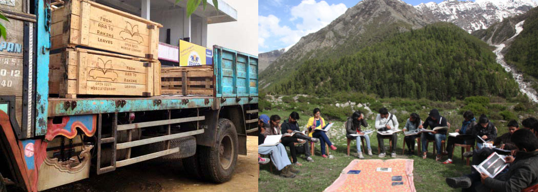 Images (L to R):Open Edit: Mobile Library - from AAA to Raking Leaves, Jaffna, Sri Lanka, 2013   and Rang Open Library in Himachal Pradesh at one of their open sessions.