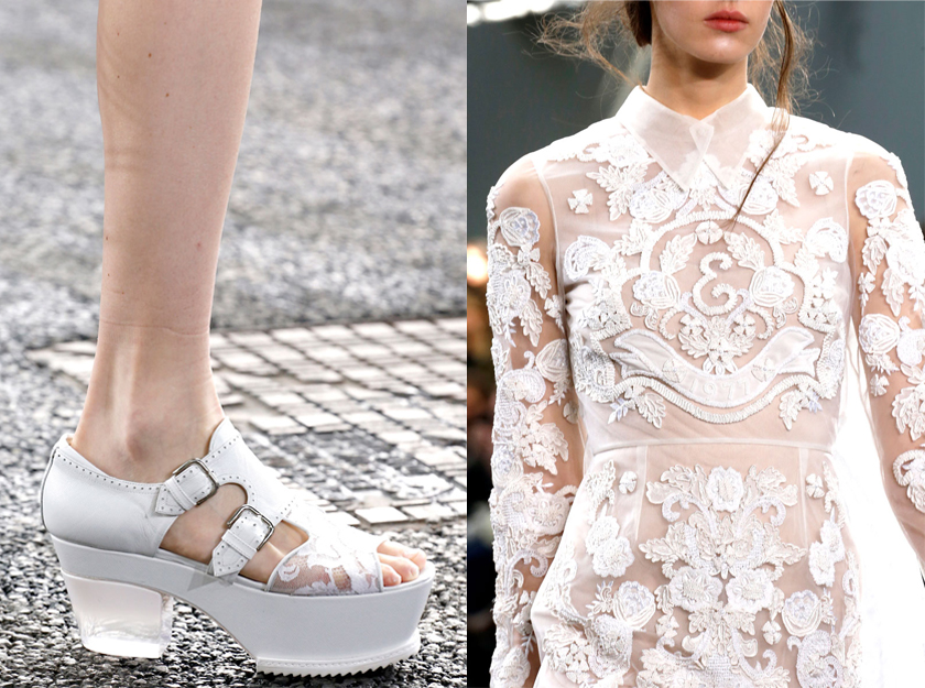 Erdem Spring 2014 details white sequins embellishment shoes