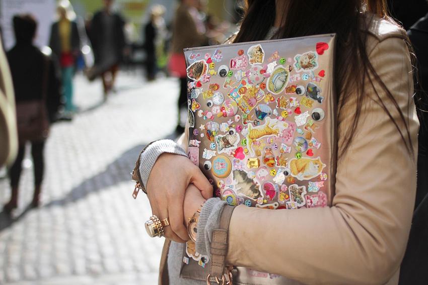 Sticker covered clutch