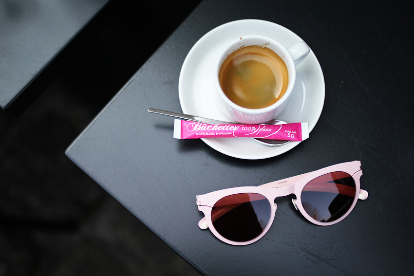 Pink glasses and espresso