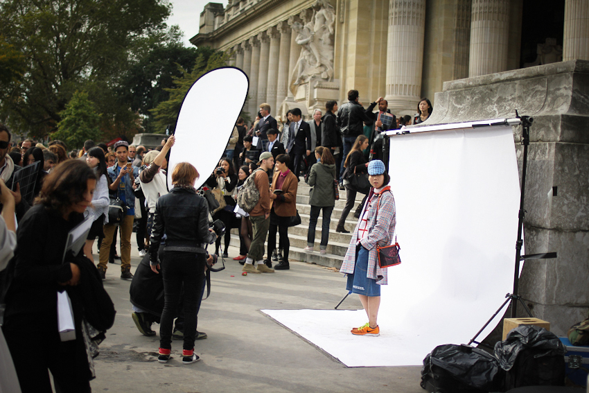 Susie Bubble getting shot outside Chanel