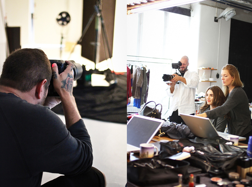 Photographer and model at the eBay shoot