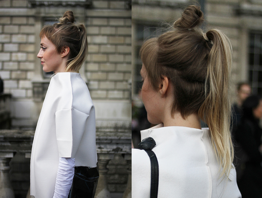 Tied up hair at London Fashion Week