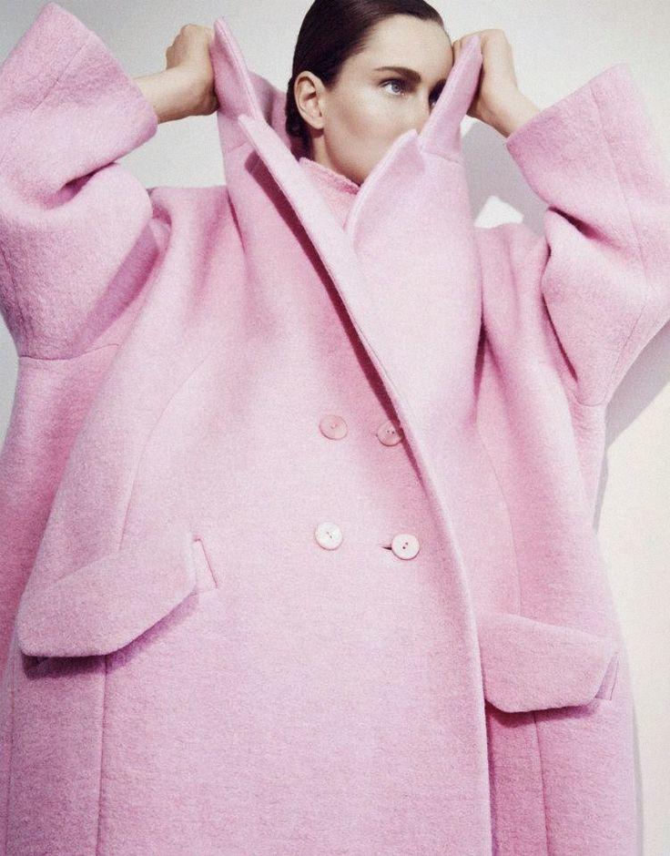 Oversized pink Carven coat
