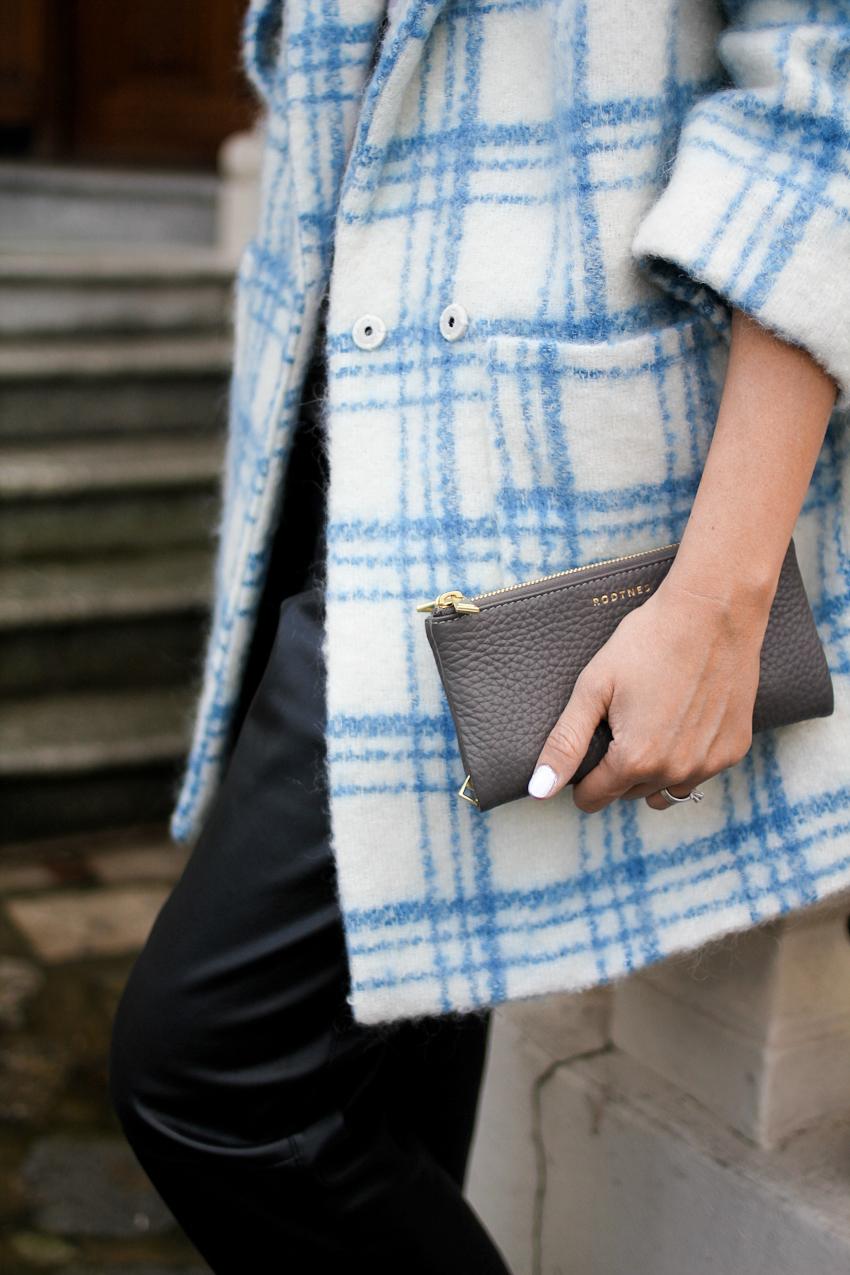 Ganni coat, Zara trousers,RODTNES fold over purse, American Apparel 't-shirt' nail polish