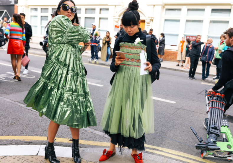 Tina Leung & Susie Lau, both in Molly Goddard - shot by  Phil Oh  for Vogue.com
