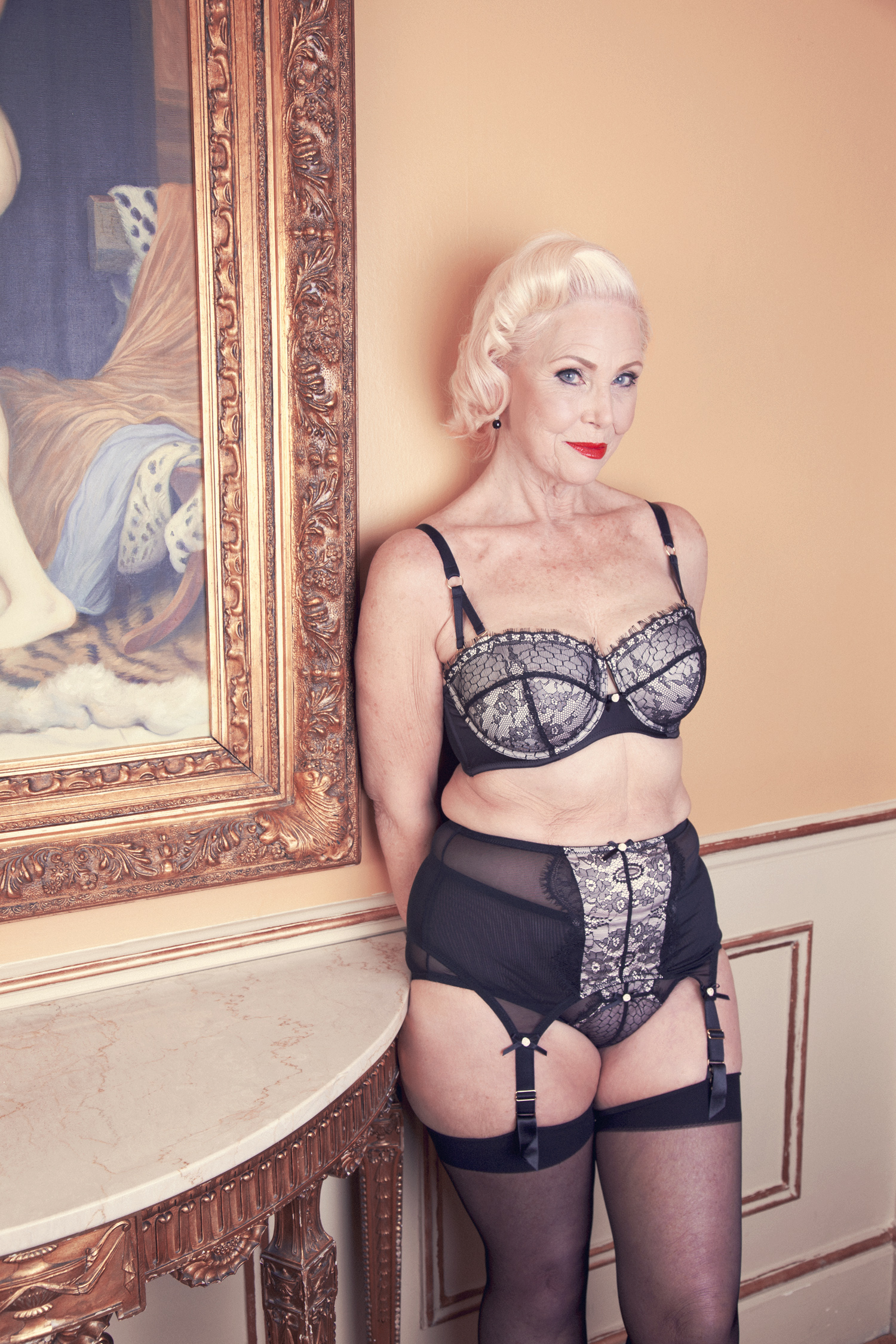 Lina wearing the  Bettie Page Lace Set