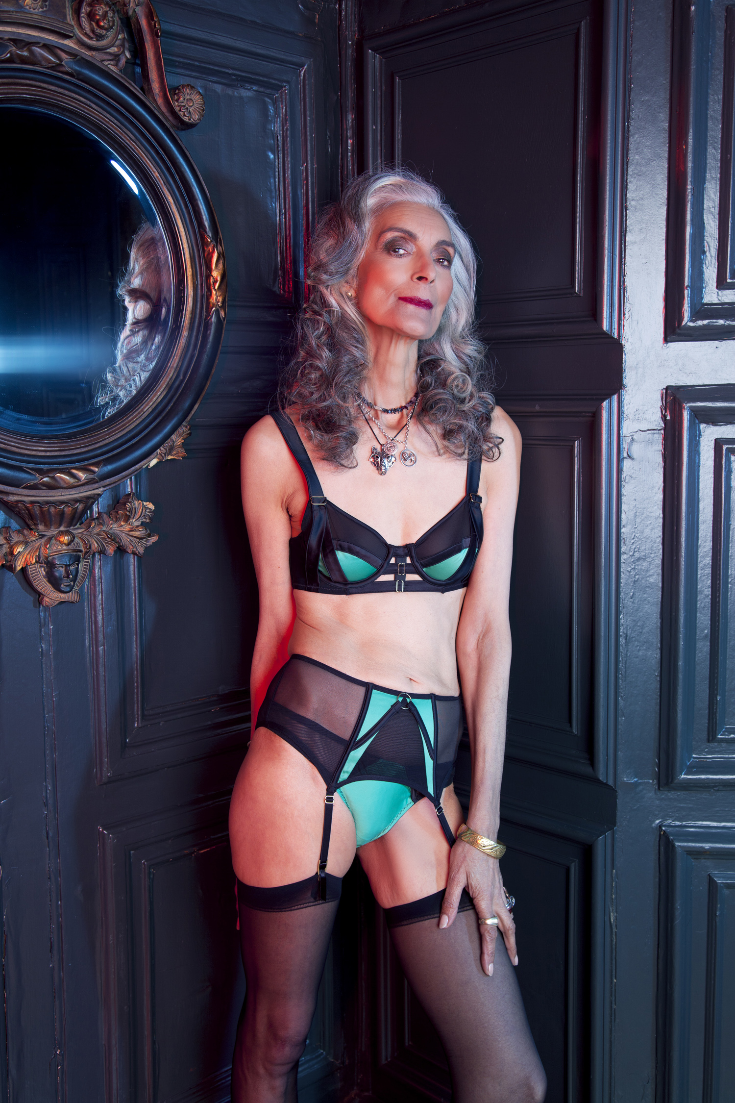 Pam wearing our  Emerald  set
