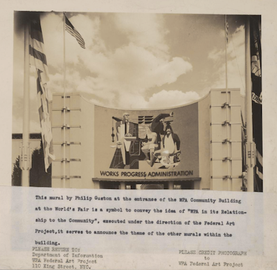 Phillip Guston's mural at the 1939 World's Fair. Screenshot of photo by WPA Art Project. Phillip Guston went on to become a painter's painter in the Abstract Expressionist era and made NYC the pinnacle of post War art