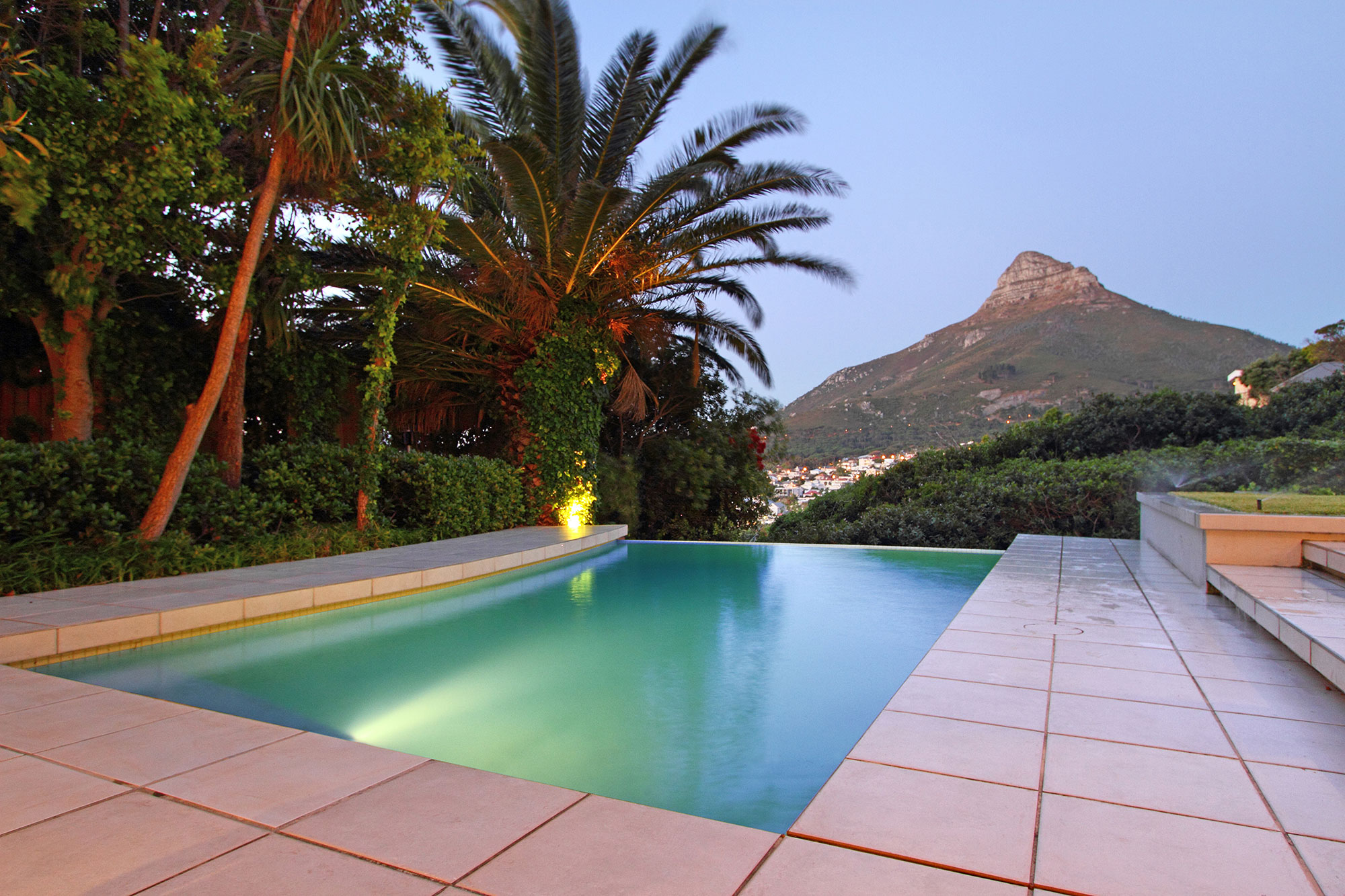 Pool terrace at dusk looking towards Lion's Head