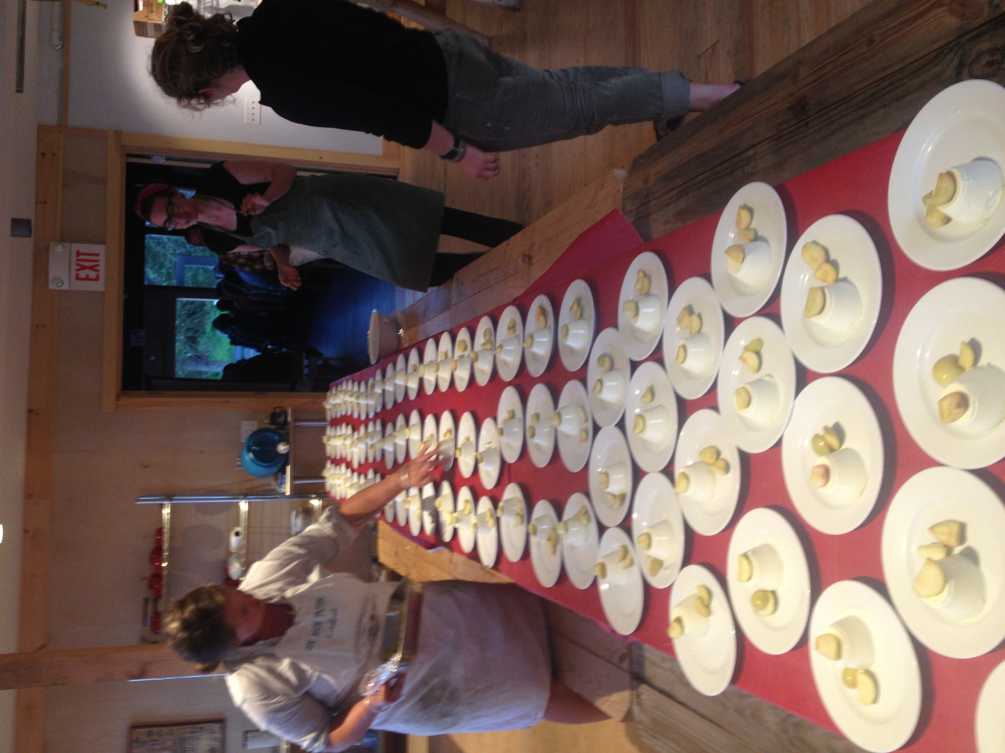 Ladleah puts the finishing touches on the Goat Cheese Panacotta