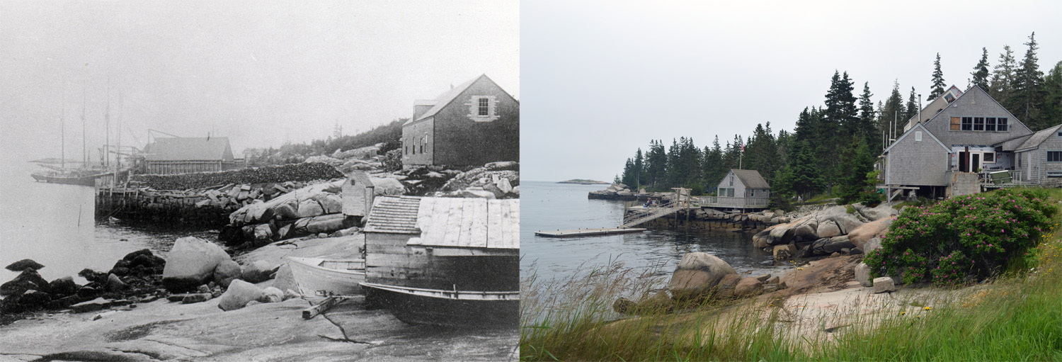 It is pretty cool to recognize distinct large granite boulders around the island when looking at old photographs--can you figure out which rock I used in this picture to place the historic image? What major thing do you notice that has changed in the landscape from then and now?  You can read more about  Hurricane Island's history here.