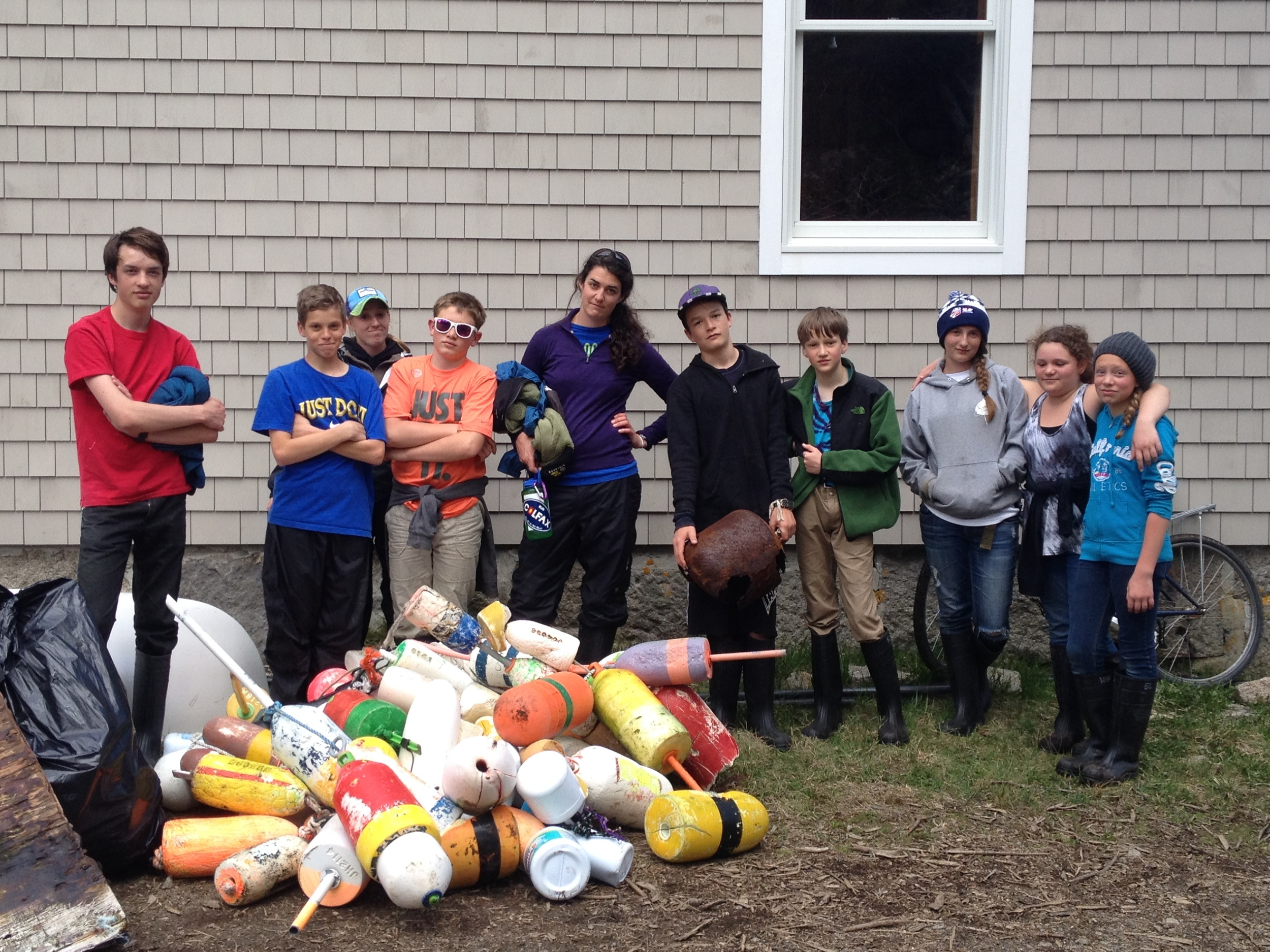 One team of Logan students with their trash haul, which included 68 of the 131 buoys that the full group collected from Hurricane's shoreline