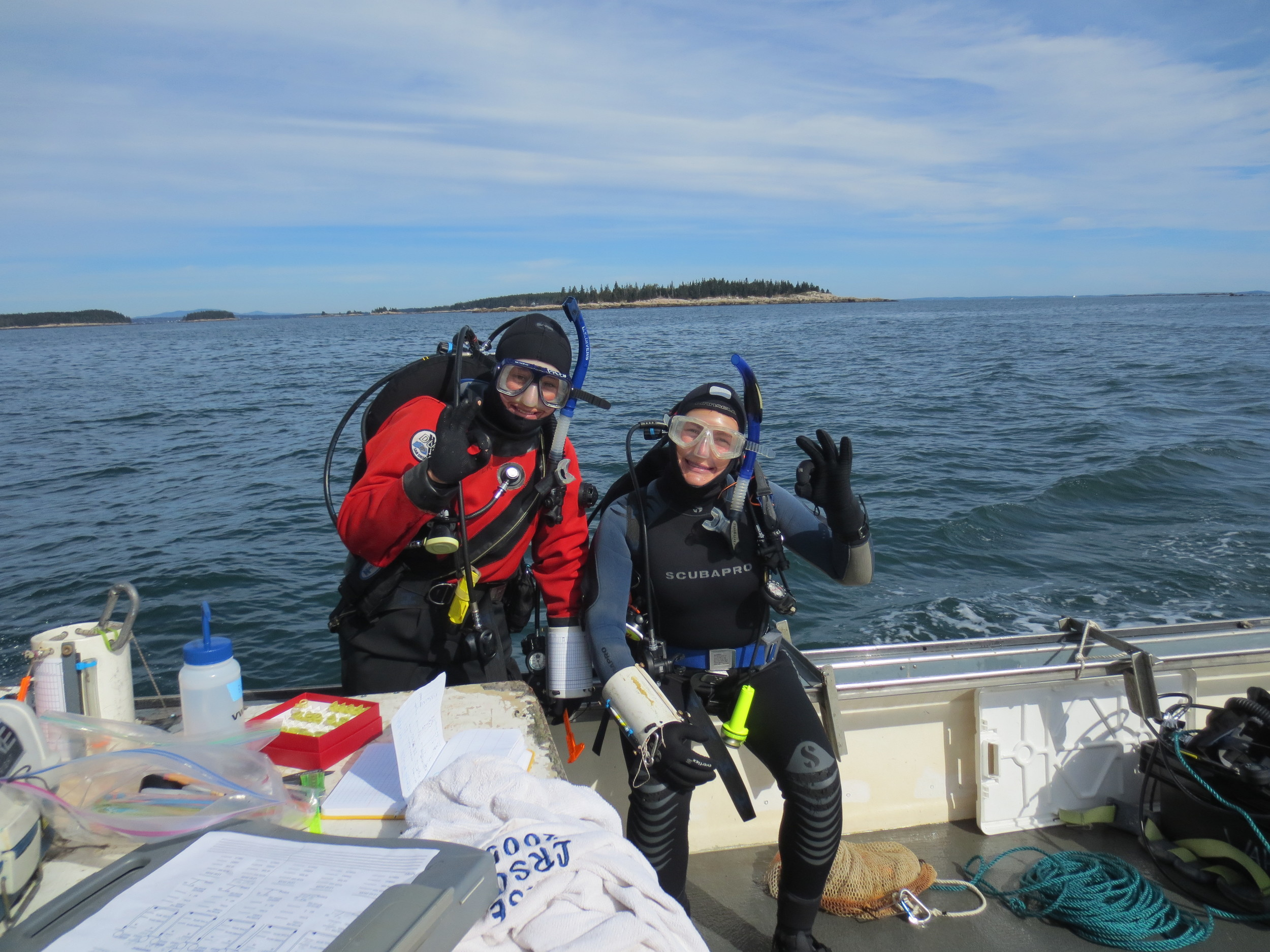 Phoebe and I prior to one of our dives on the Muscle Ridge closed area in the fall of 2013.