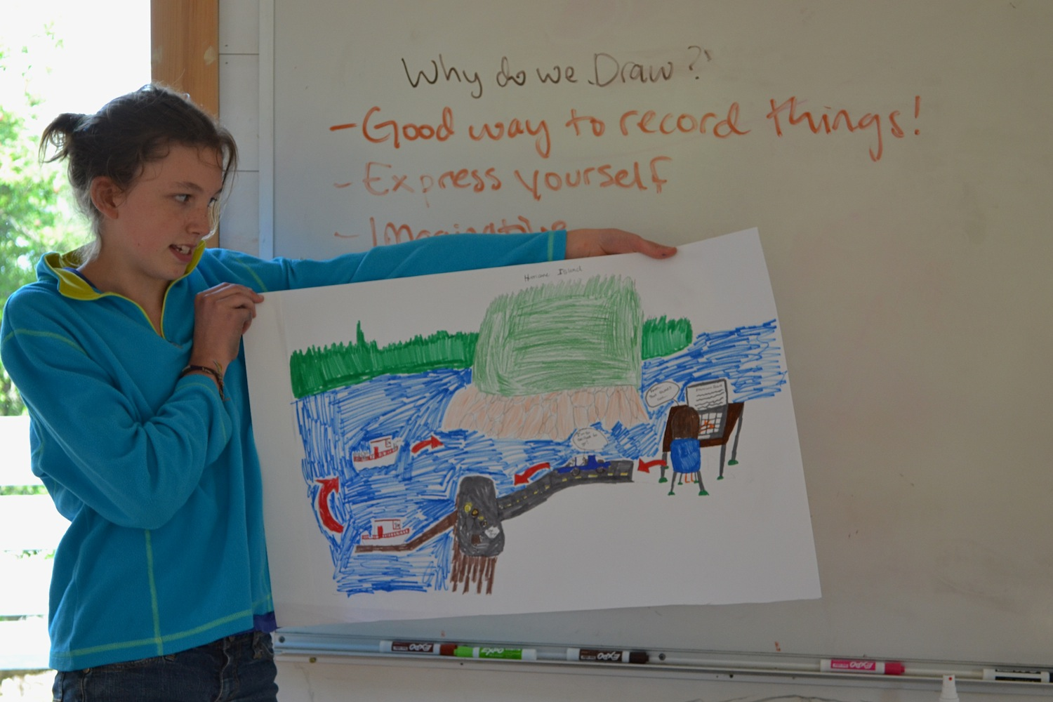 A student shows how she depicted her trip to Hurricane