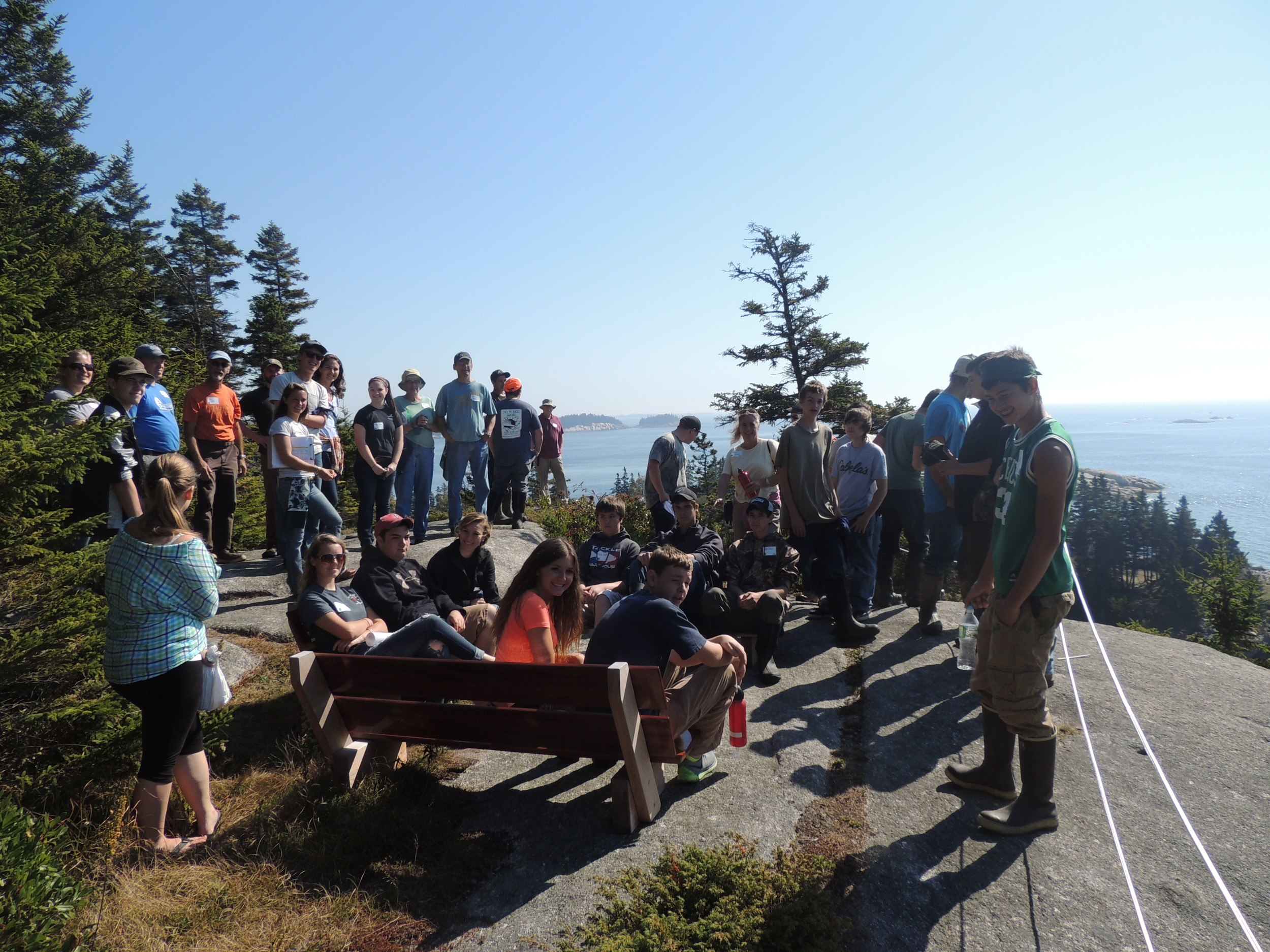 Students gather on the high cliffs