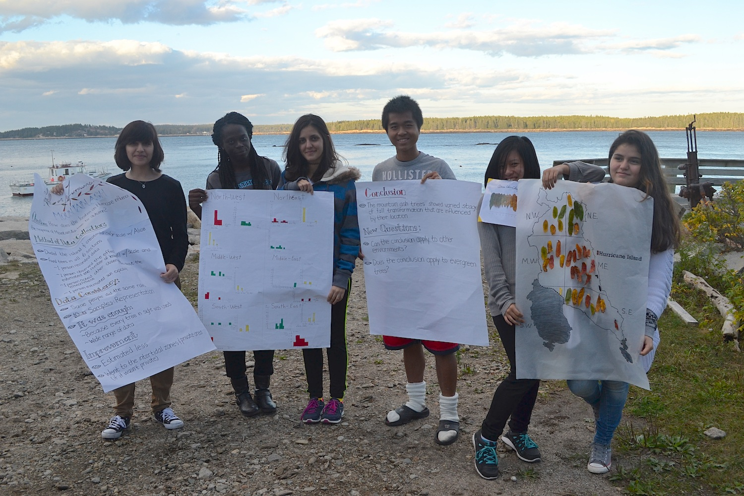 Group 4 shows their results, and a map depicting where they sampled around the island and how that related to different autumnal stages.