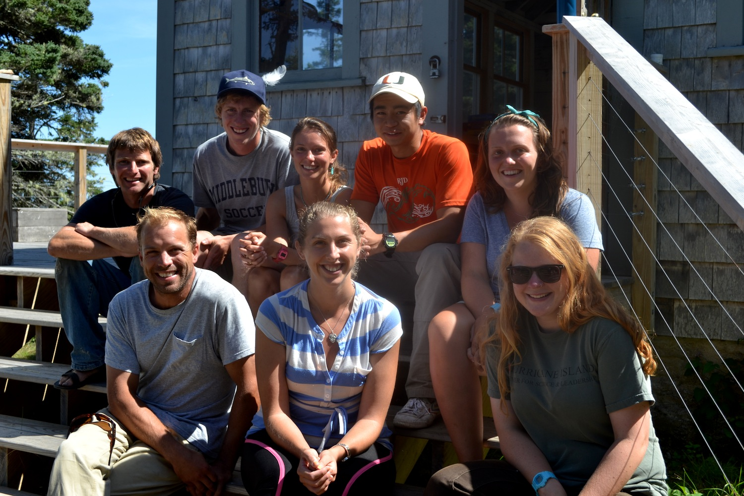 2014 Island Staff:  L-R Back:  Sam Hallowell, Oakley Jackson, Josie Gates, Collin Li, Chloe Tremper ;  L-R Front:  Ben Hoops, Alyssa Hall, Alice Anderson,  Not Pictured- Cait Cleaver, Emily Peckham, Barney Hallowell