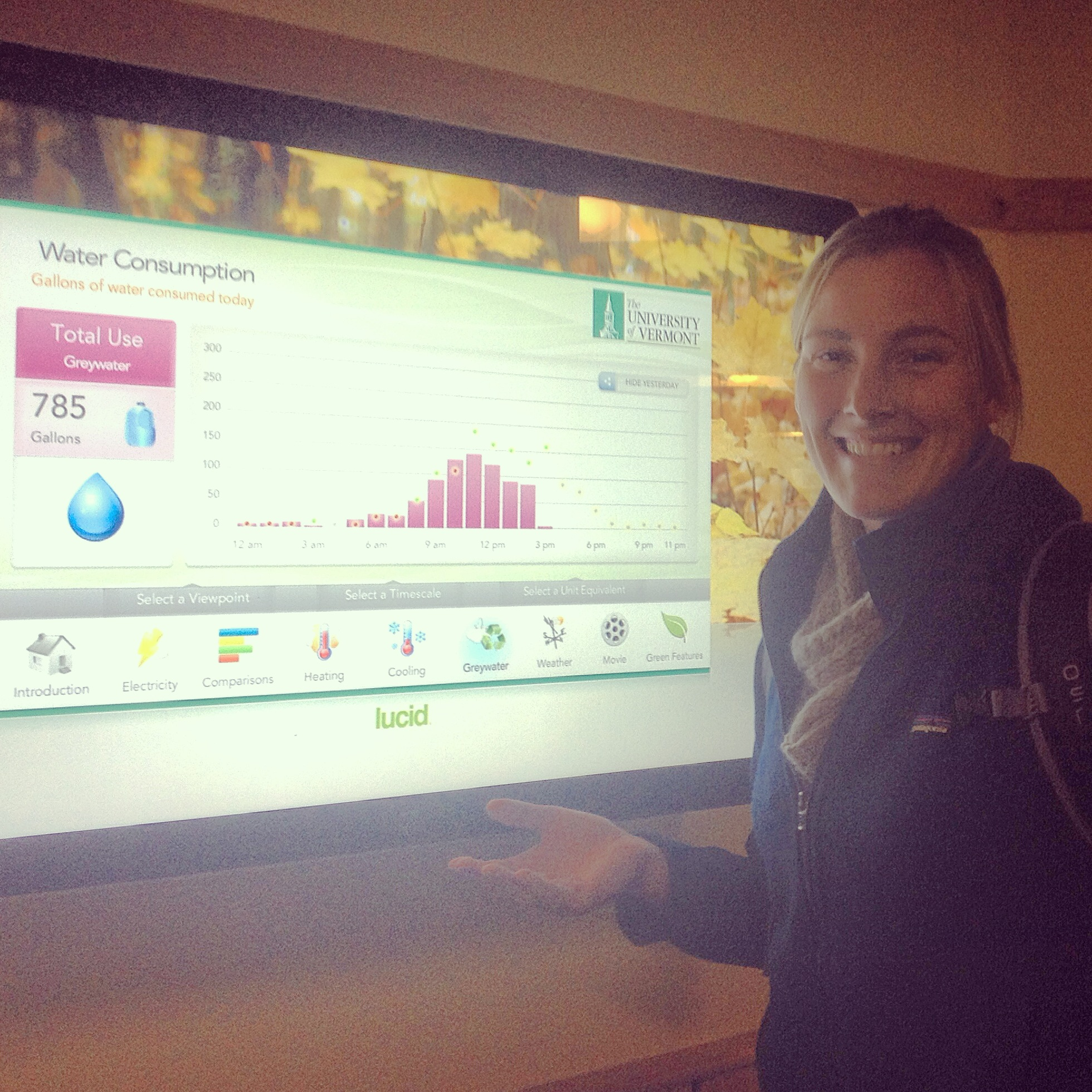 While on campus, we checked out some of the ways UVM is communicating their sustainable design initiatives. One of these is through this awesome  building dashboard , which, paired with a series of sensors in their buildings, tracks electricity and natural gas use of their LEED certified buildings.