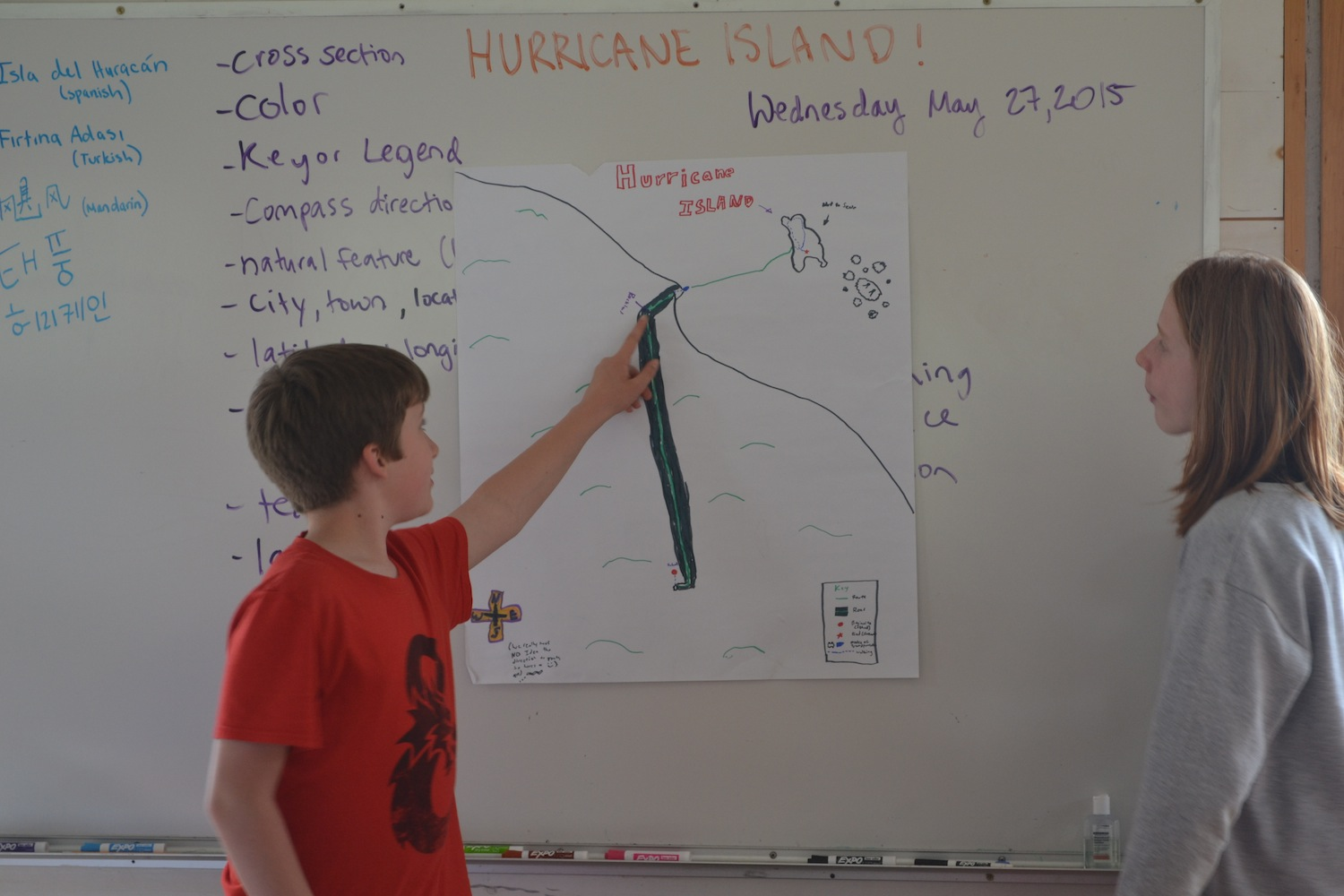 Students share creative maps they drew showing their journey to Hurricane Island