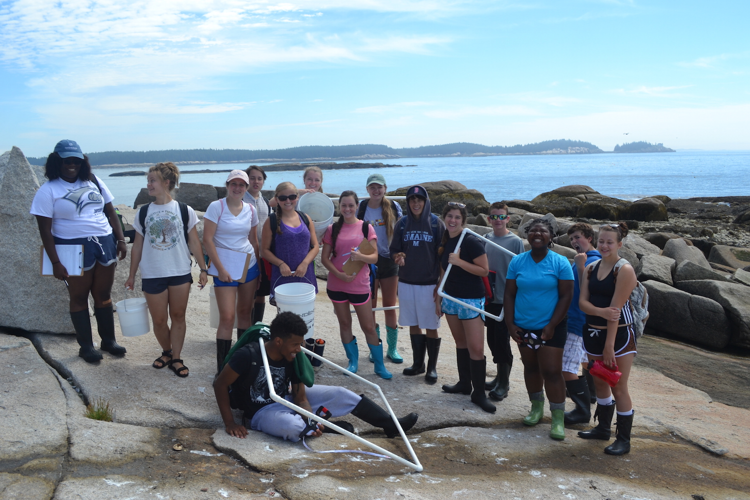 The crew after a successful morning collecting data in the intertidal at Two Bush Island