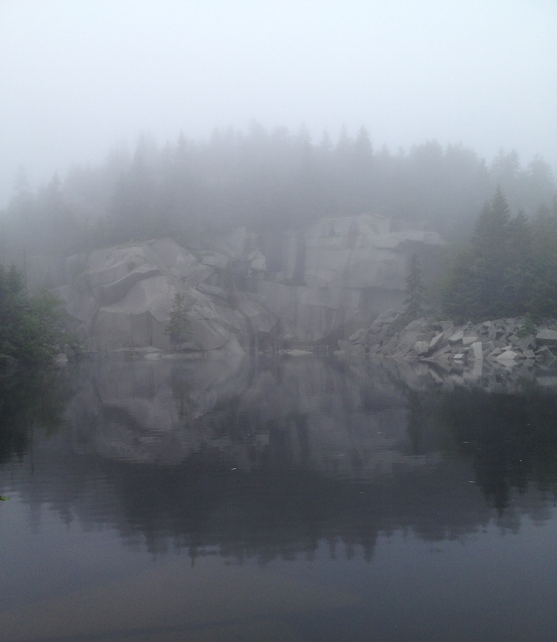 Fog rolls in over the quarry