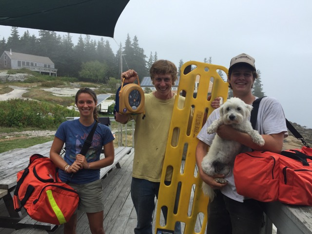Josie Gates, Oakley Jackson, Silas Rogers and Boomer.  Hurricane Island Safety Squad