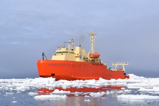 """The Lawrence M Gould waiting """"in the ice"""" off of Cape Sherriff"""