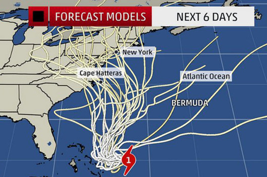 """Appropriately called the """"spaghetti"""" model - all the possible paths of the hurricane that threatened to hit Hurricane Island in Oct 2015"""