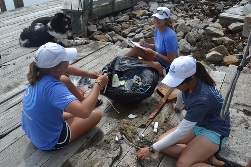 Three interns count and record their marine debris finds from Hurricane's main pier.