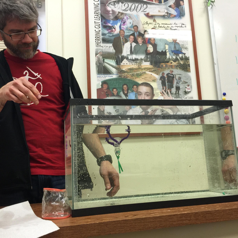 Northport middle school teacher John VanDis tests his phytoplankton model [Photo credit Yvonne Thomas]