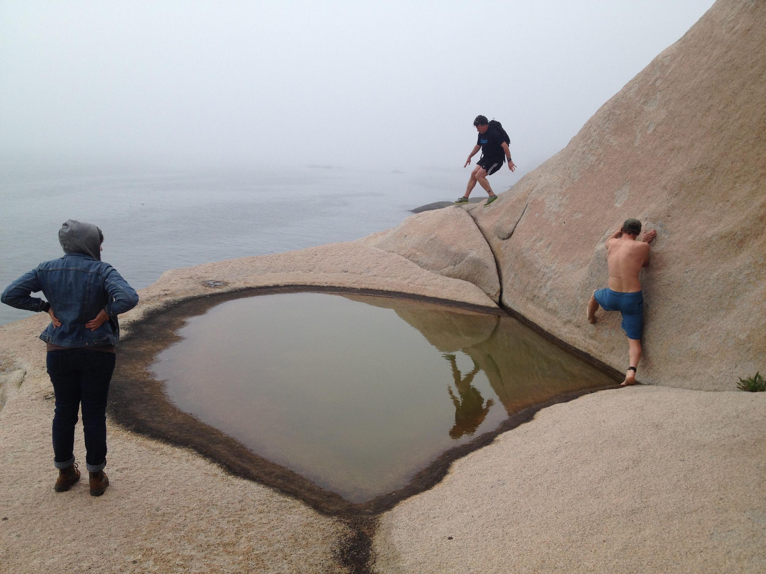Climbing around the edges of Greens Island