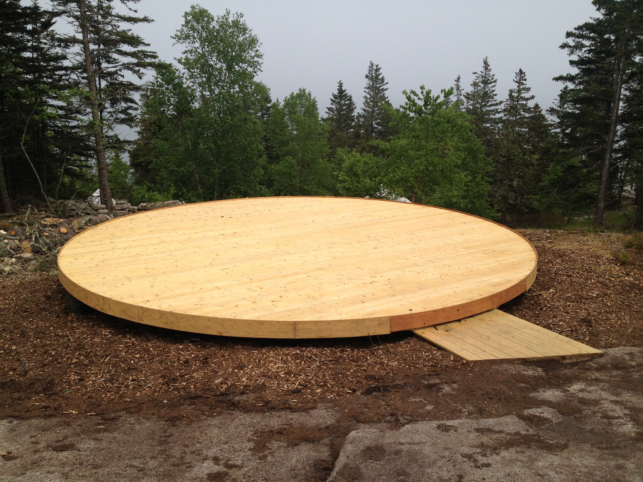 Yurt platforms stand at the ready