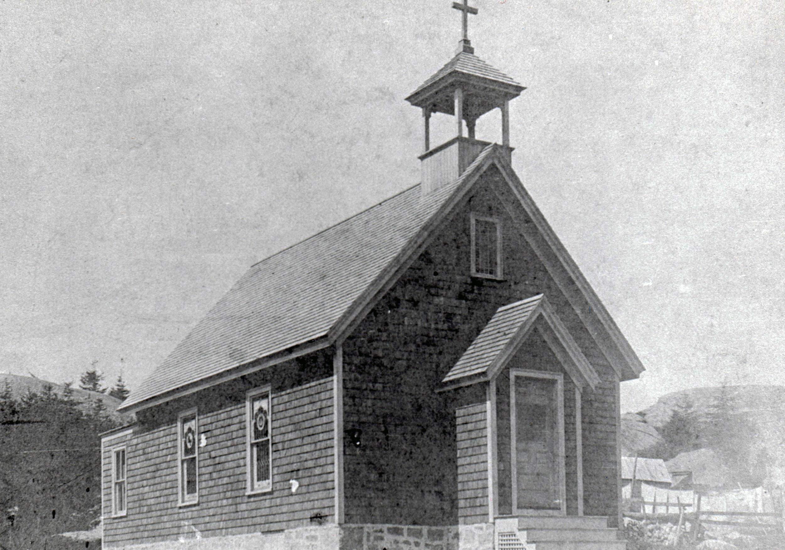 Hurricane Island Catholic Church, circa early 1900's.   Photo Courtesy of Eleanor Motley Richardson, Hurricane Island: The Town That Disappeared