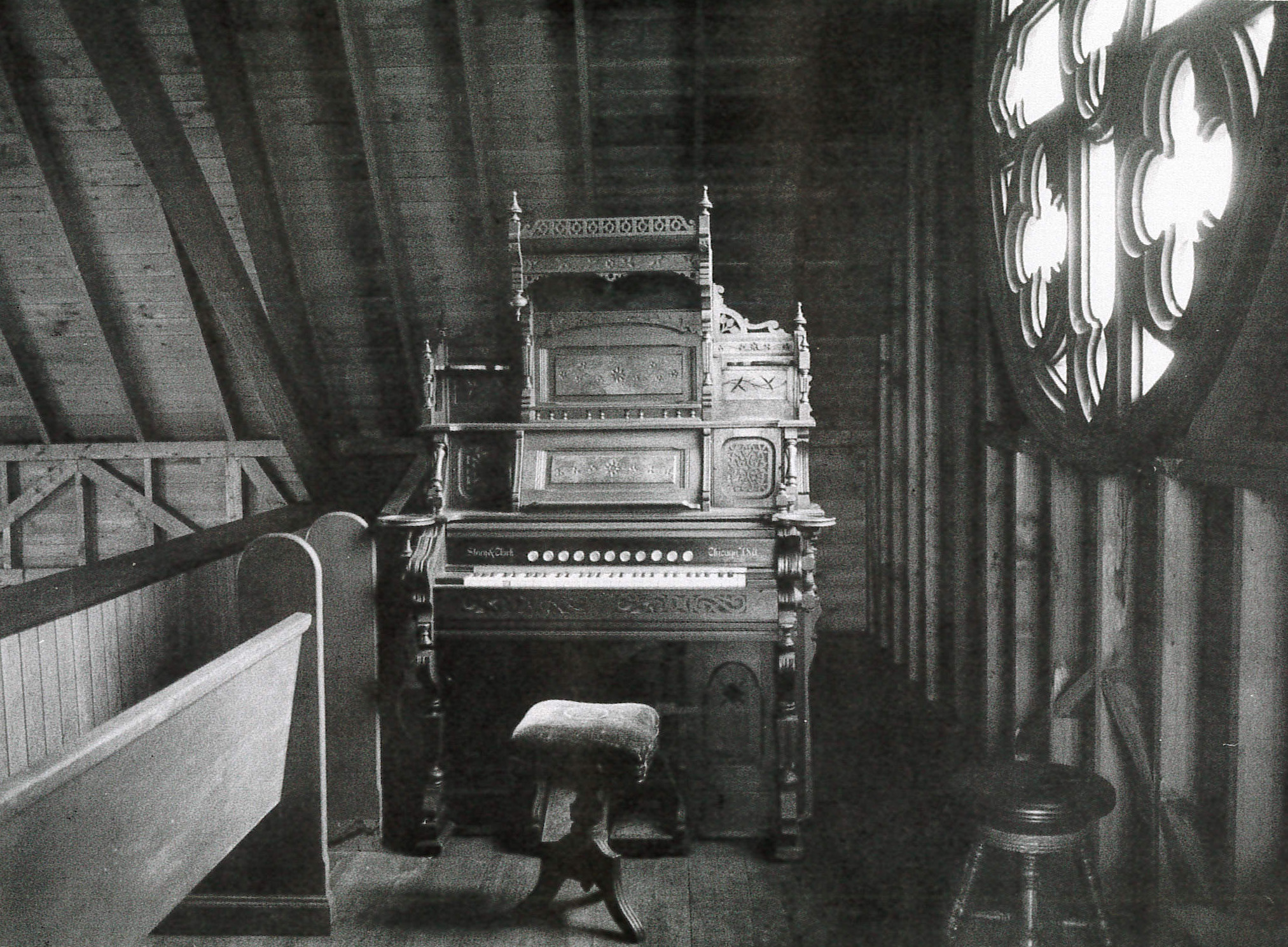 Story and Clark Organ in the North Haven Catholic Church  Photo Courtesy of Eleanor Motley Richardson, Hurricane Island: The Town That Disappeared