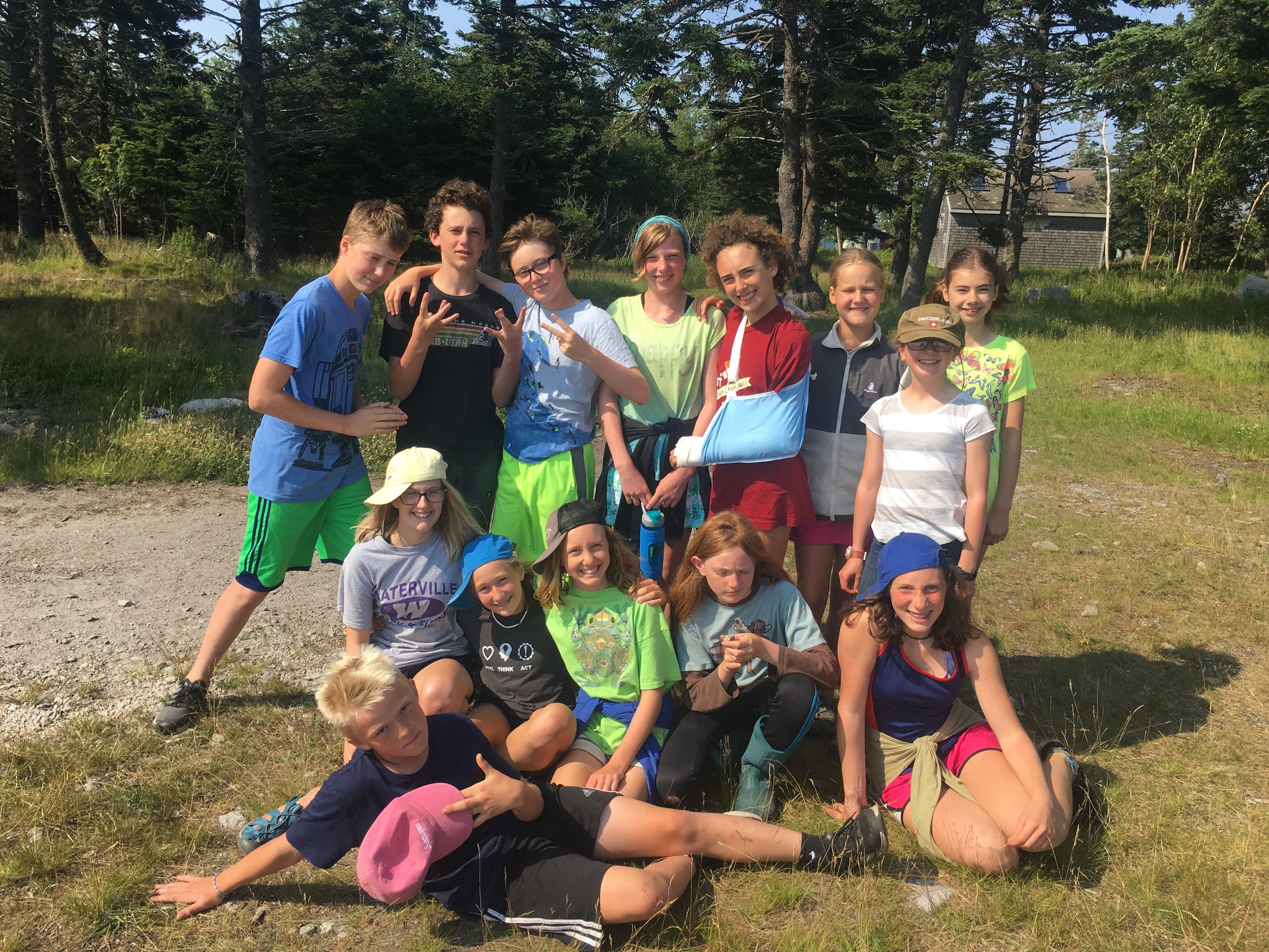 Middle school marine biology striking their poses!