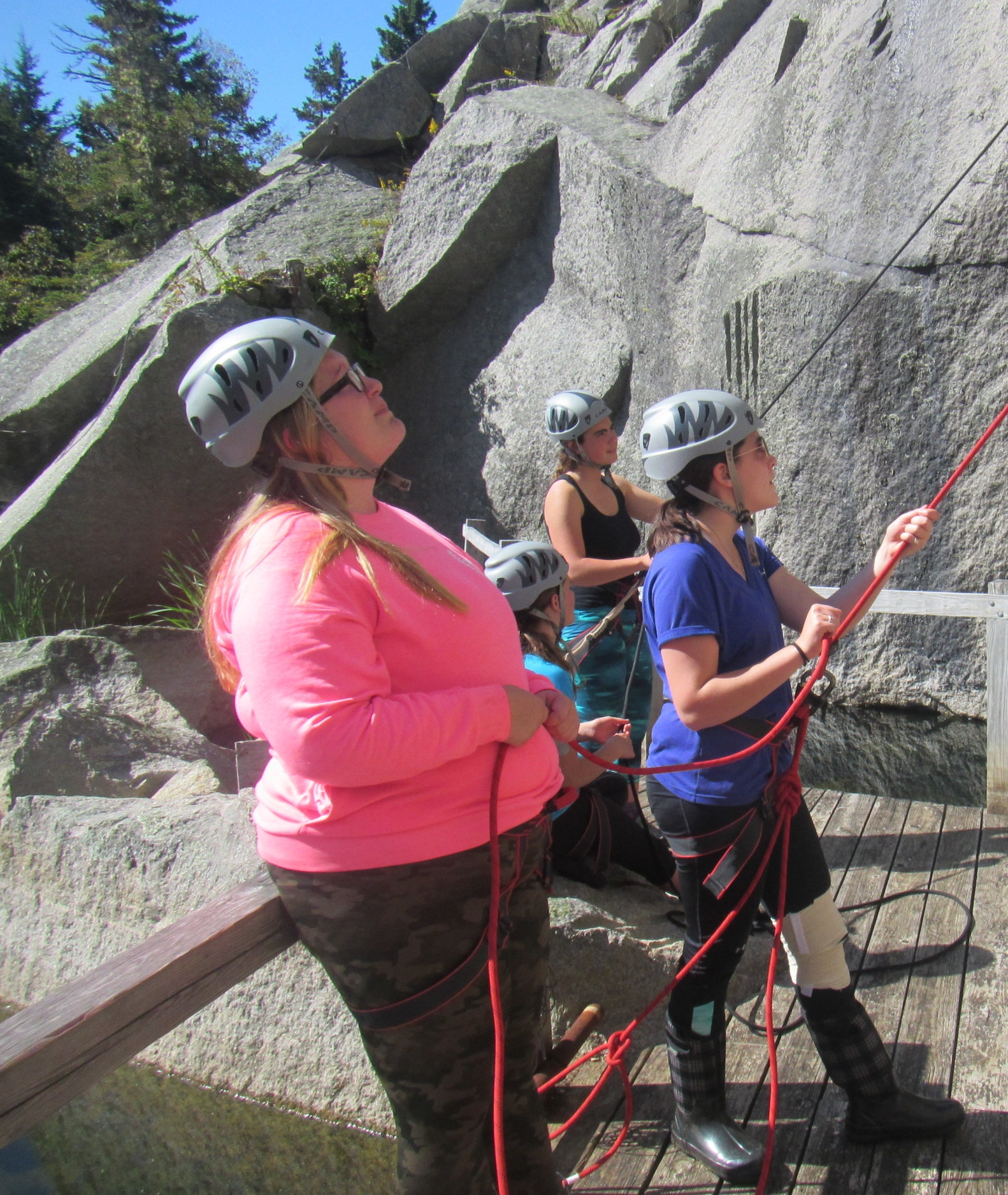 Student's belaying their classmates