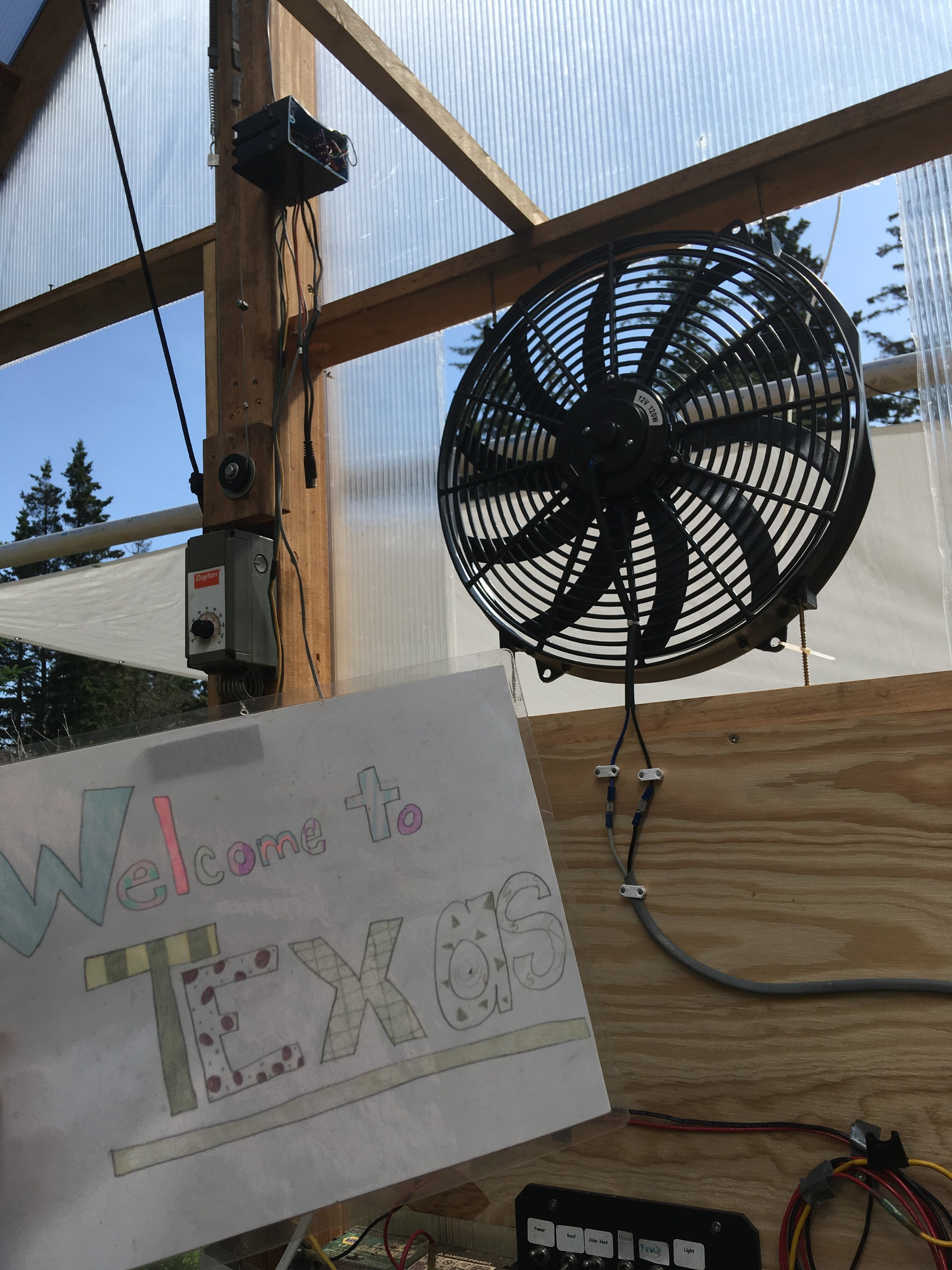 The problem: the greenhouse was turning into Texas. The solution: my super cool  fan.