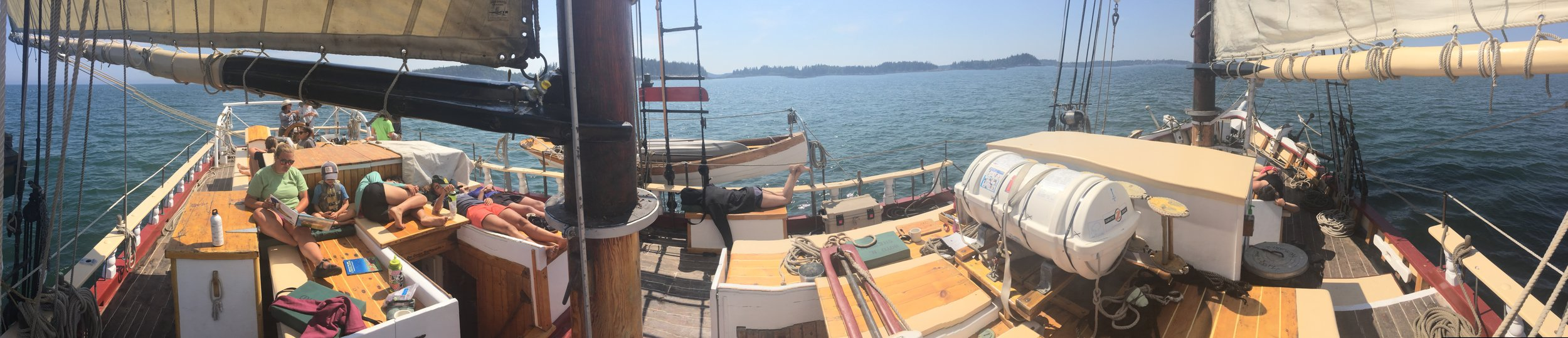 A panorama of our first day sailing on the Boyd N. Sheppard where most folks were feeling a tad green around the gills and had to take a nap.