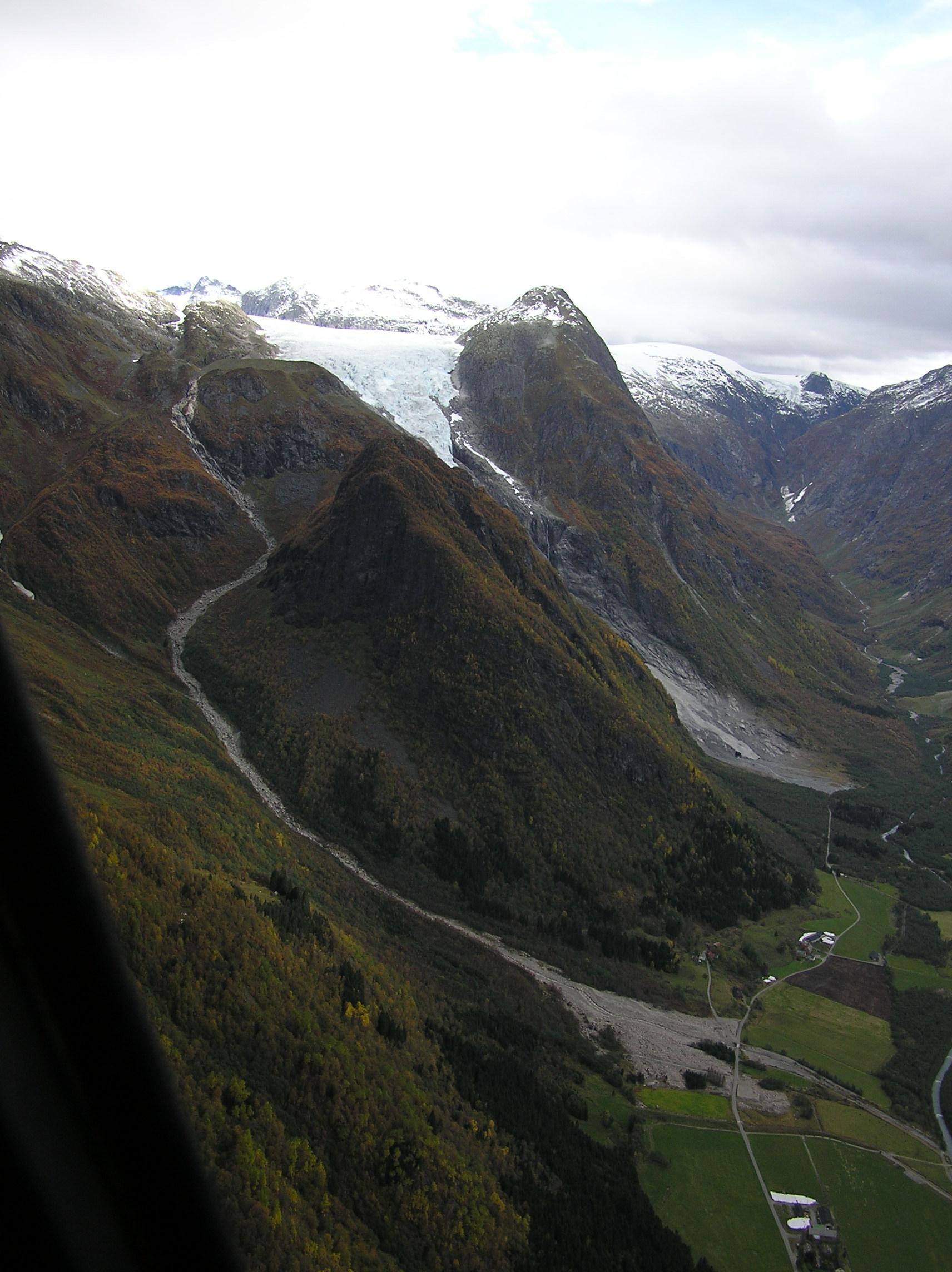 Skredløpet i 2007. Foto: Anders Elverhøi, UiO.