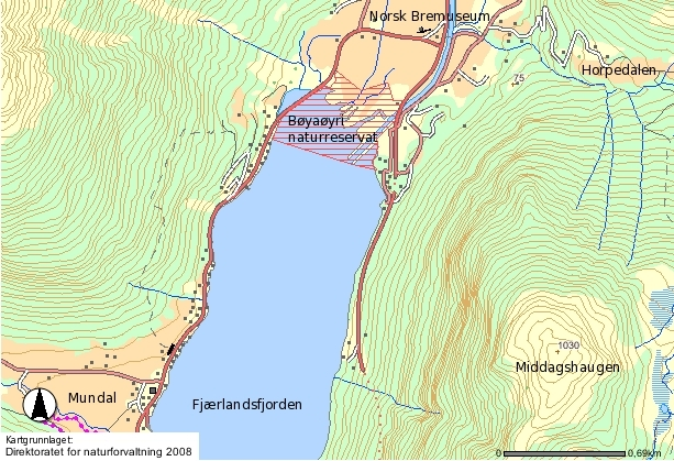 Kart som viser kor naturreservatet ligg (Direktoratet for naturforvaltning 2008).
