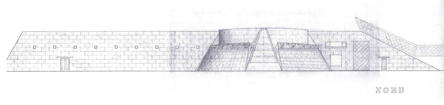 Skisse av Norsk Bremuseum med det særeigne klimautstillingstilbygget på nordsida.