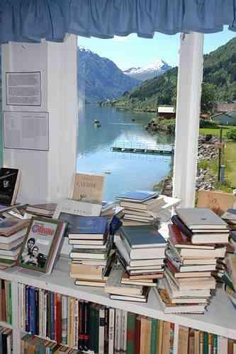 Livres et vue paisible sur le fjord. Photo : The Norwegian Booktown.