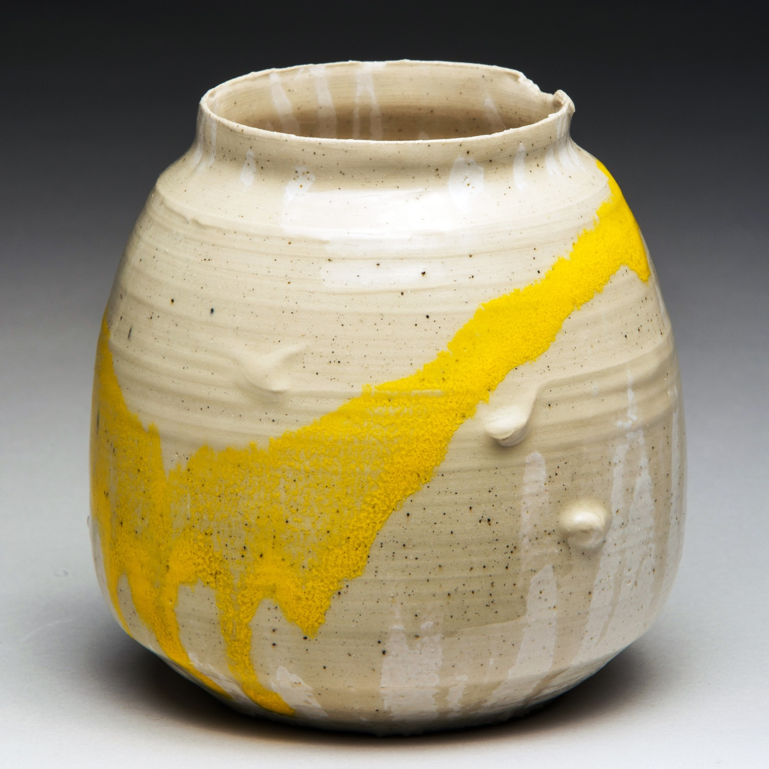 """""""Olympic Gold for Sedentary State"""", Stoneware Vase, 11.5cm Tall x 11.5cm Diameter (4.5"""" x 4.5"""")"""