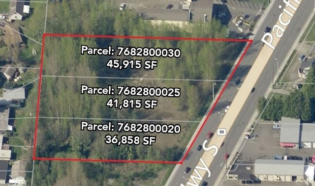 For Sale: Pac Hwy S. - 3 contiguous acres along Pacific Highway South, Des Moines, WALevel, shovel ready