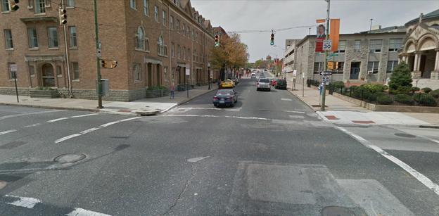 Facing west on Preston Street at Maryland Avenue.